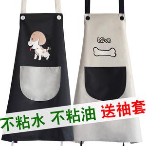 厨房可爱围裙袖套防水防油两件套布情侣男女套装工作服定制印logo