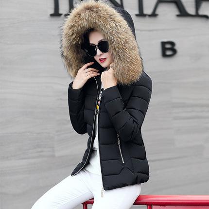 大毛领羽绒棉服2018冬新款连帽女装棉衣外套修身短款女大码棉袄