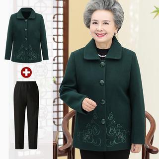 妈妈装秋冬装60-70-80岁奶奶呢子上衣服婆婆老年女装套装毛呢外套