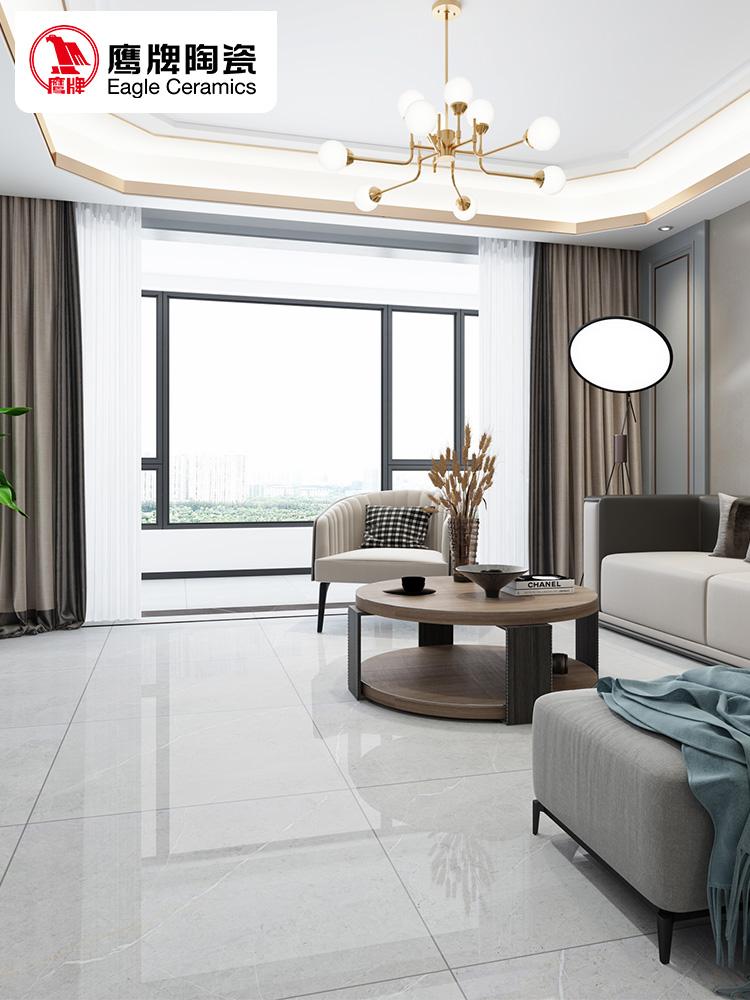 鹰牌瓷砖地砖800x800灰色地板砖客厅抛釉砖防滑电视背景墙山野(非品牌)