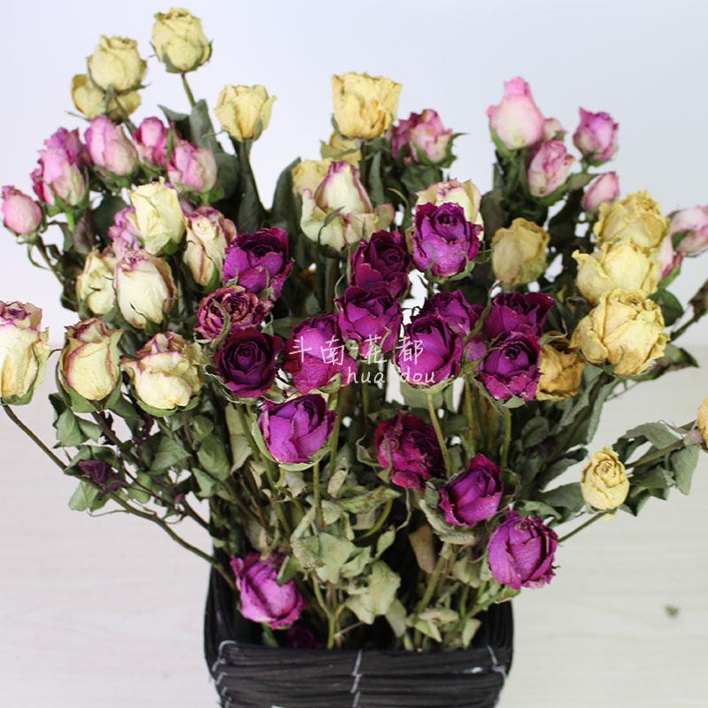 Роуз сухие цветы день рождения подарок букет подарок домой декоративный стрельба реквизит база земля прямой заказчик почта