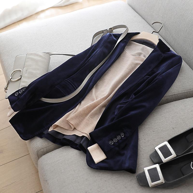 春秋新款修身西服女深蓝丝绒小西装气质外套洋气干练炫耀职场