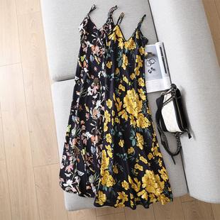 单穿内搭皆出彩 DA牌配色重磅19姆米真丝V领印花图案中长款吊带裙