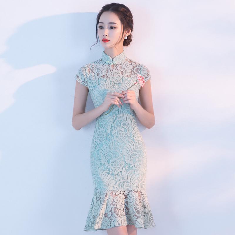 旗袍春款2018新款少女时尚改良版短款学生蕾丝连衣裙鱼尾日常夏季