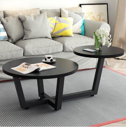 家具小桌子复古艺术客厅厚实北欧咖啡色造型中小型简约圆桌茶几