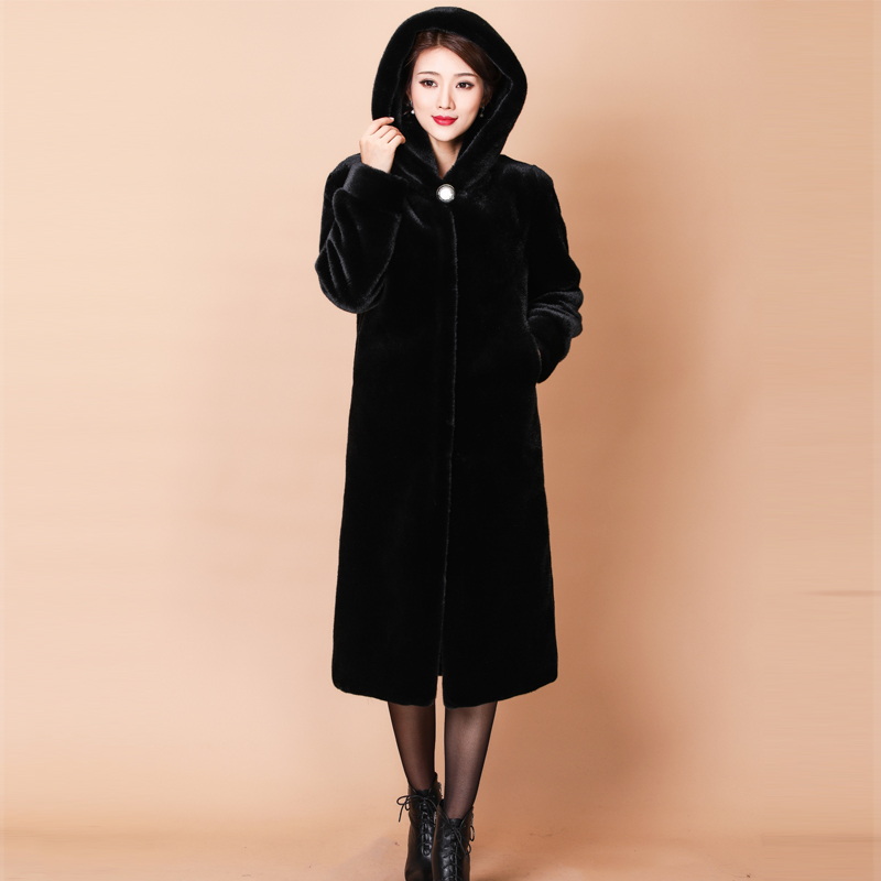 Genuine Haining mink fur grass middle-aged and old mothers whole mink coat long hooded mink coat womens wear