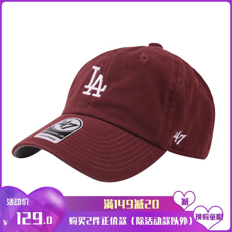47专柜正品棒球帽男女软顶做旧酒红色黑白小标LA道奇队弯檐鸭舌帽