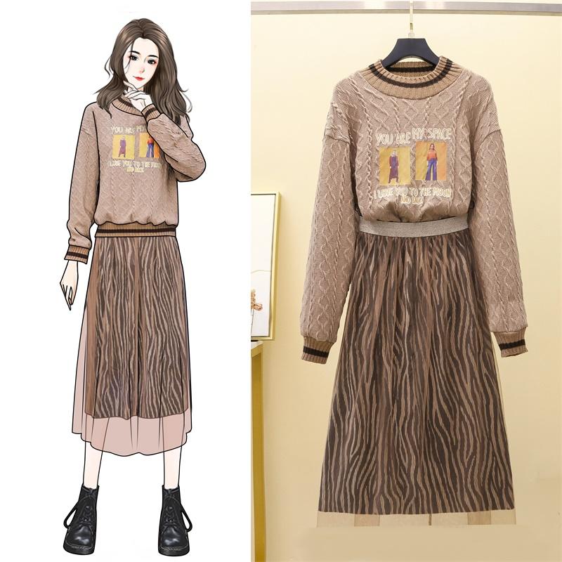 实拍2020秋冬新款针织毛衣豹纹网纱半身裙气质胖妹妹显瘦减龄套装