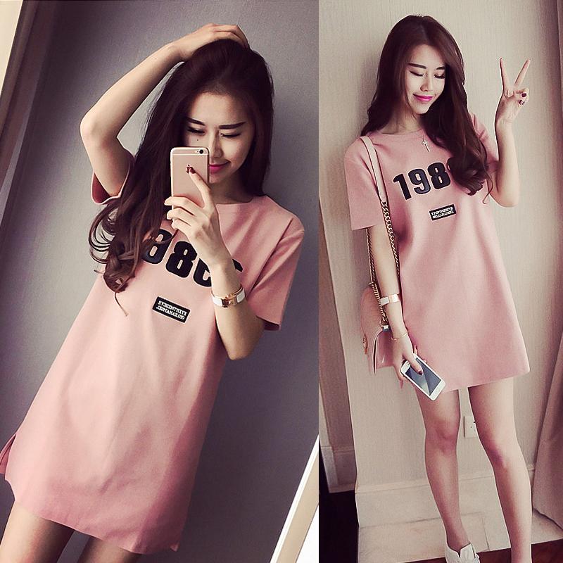 夏季韩国学生短袖T恤裙子女中长款韩版气质小清新修身显瘦连衣裙