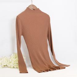 金菊半高领毛衣女套头中长款修身显瘦秋冬新品针织打底100%羊毛衫
