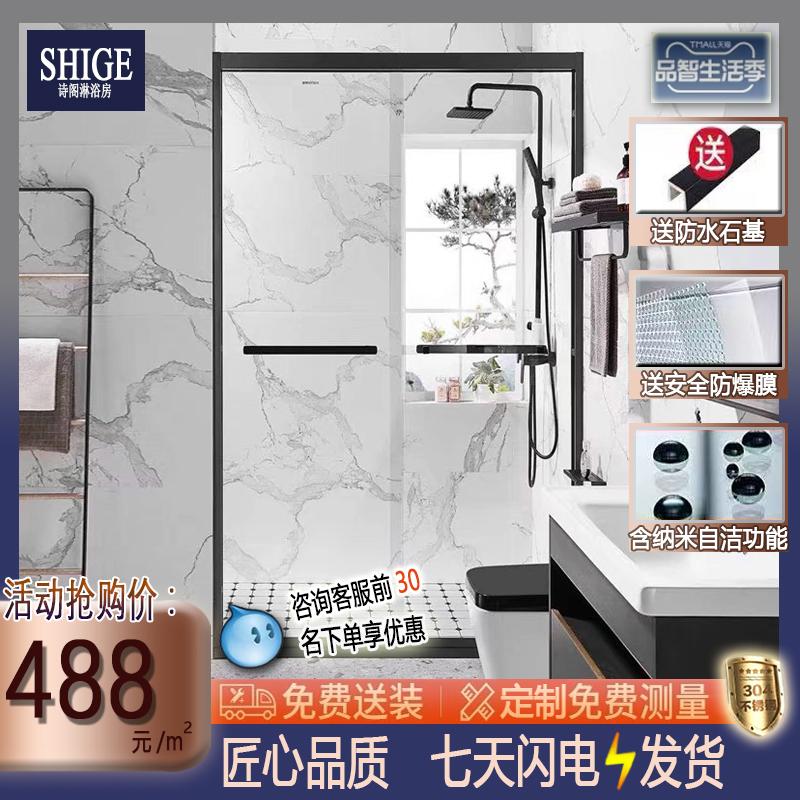 诗阁不锈钢淋浴房卫生间玻璃一字型极简隔断洗澡间干湿分离