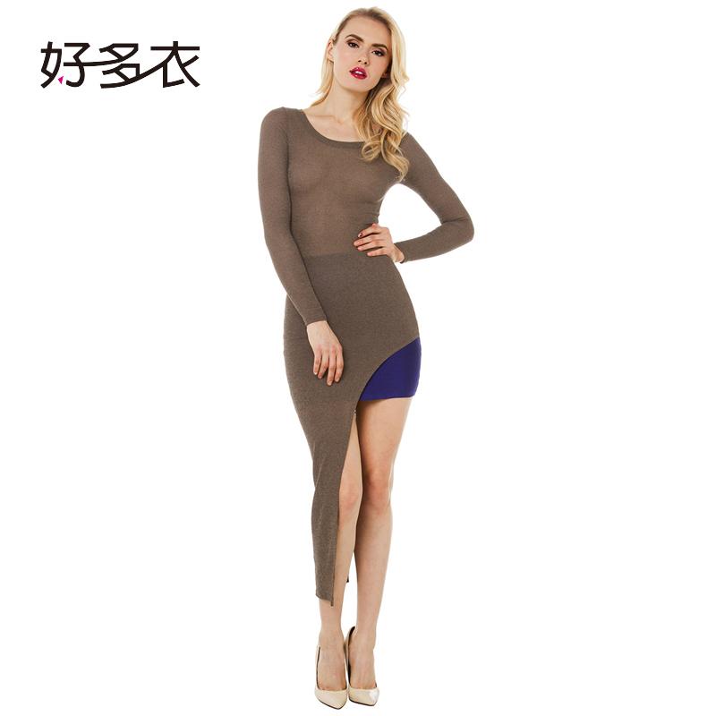 好多衣春季新款欧美性感修身显瘦包臀裙侧开叉不对称长袖连身裙,可领取5元天猫优惠券
