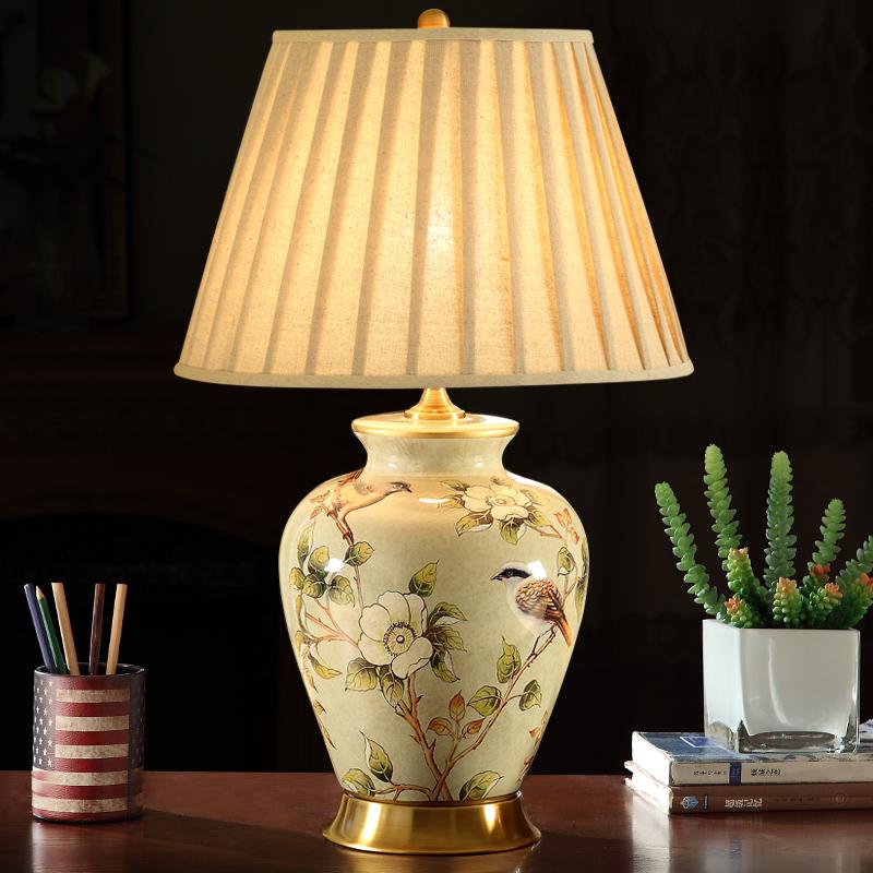 原创大气美式花鸟陶瓷台灯客厅书房卧室床头灯欧式全铜新中式台灯