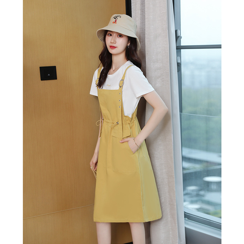 Suspender solid color commuter mid waist winter pocket skirt dress womens summer 2021 casual loose two piece set