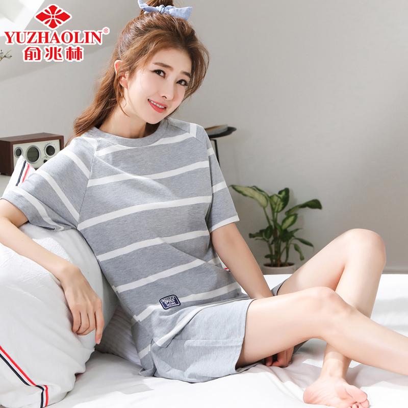 俞兆林睡衣女夏季纯棉两件套装短袖学生可爱大码公主风全棉家居服