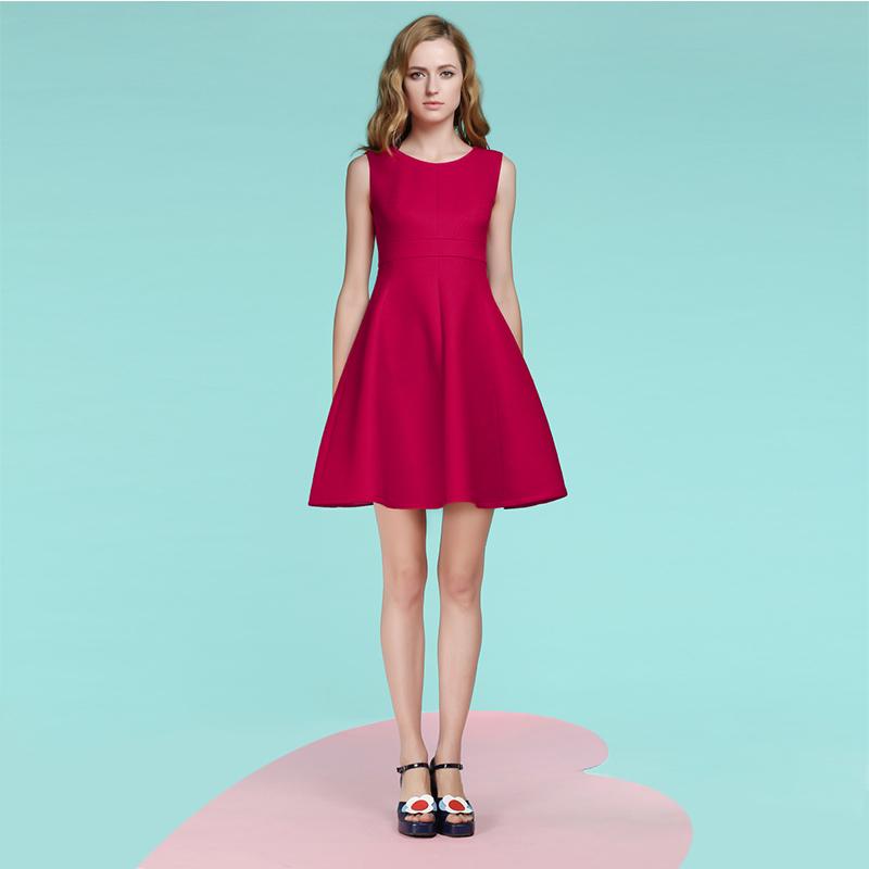 JUNGLE ME圆领连衣裙无袖小红裙A字伞裙小黑裙复古优雅收腰显瘦