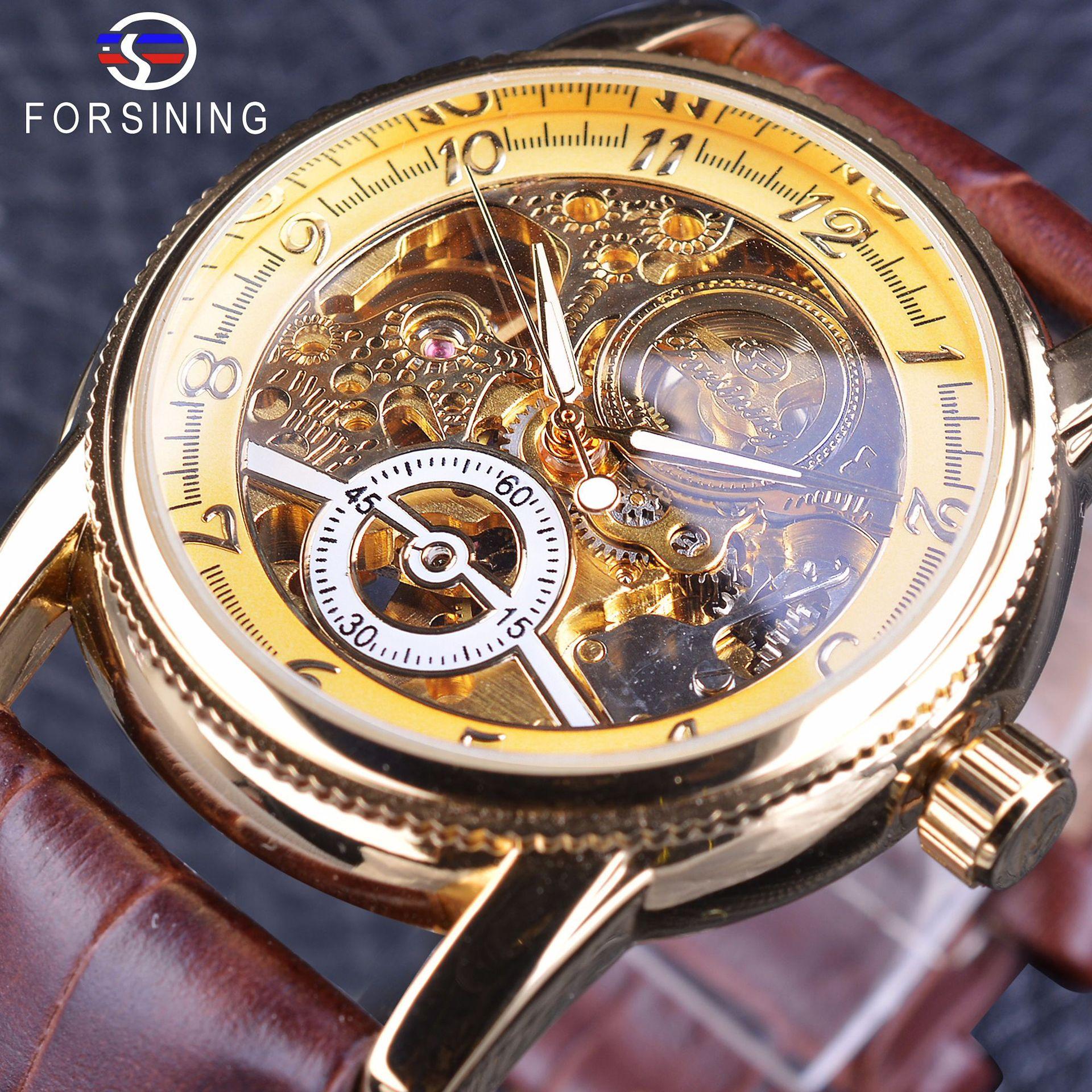 Mens watch fashion double side hollow automatic mechanical watch luminous waterproof leather belt boutique watch mens fashion