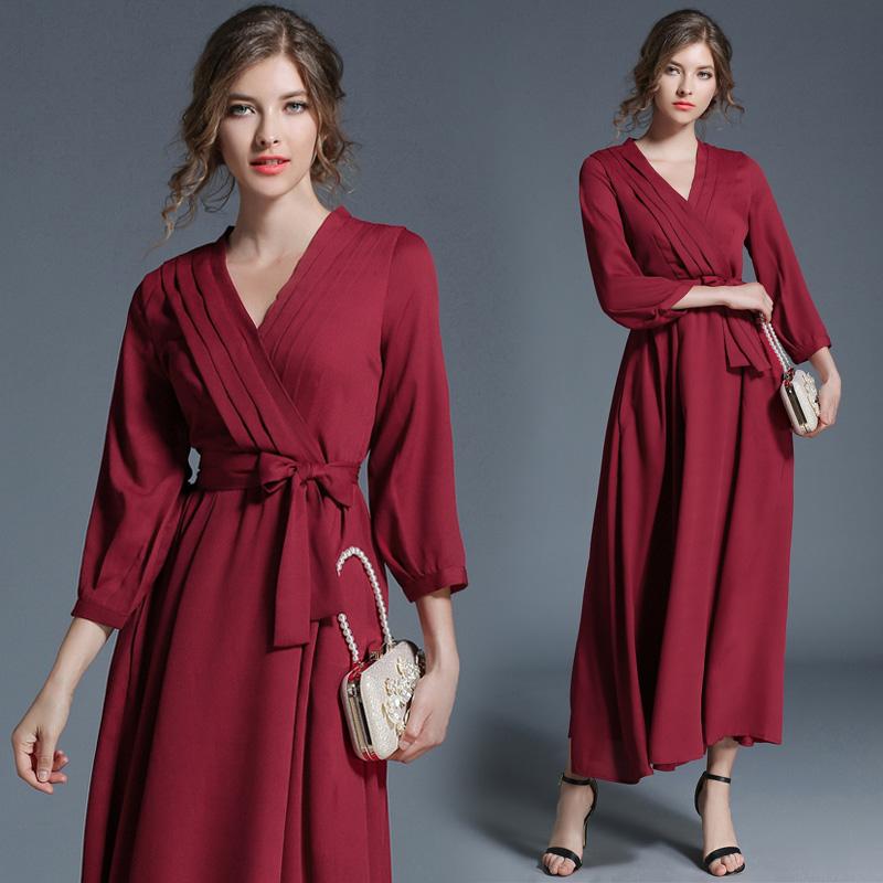 现货实拍5197-红色女装连衣裙 时尚V领系带收腰长款大摆裙