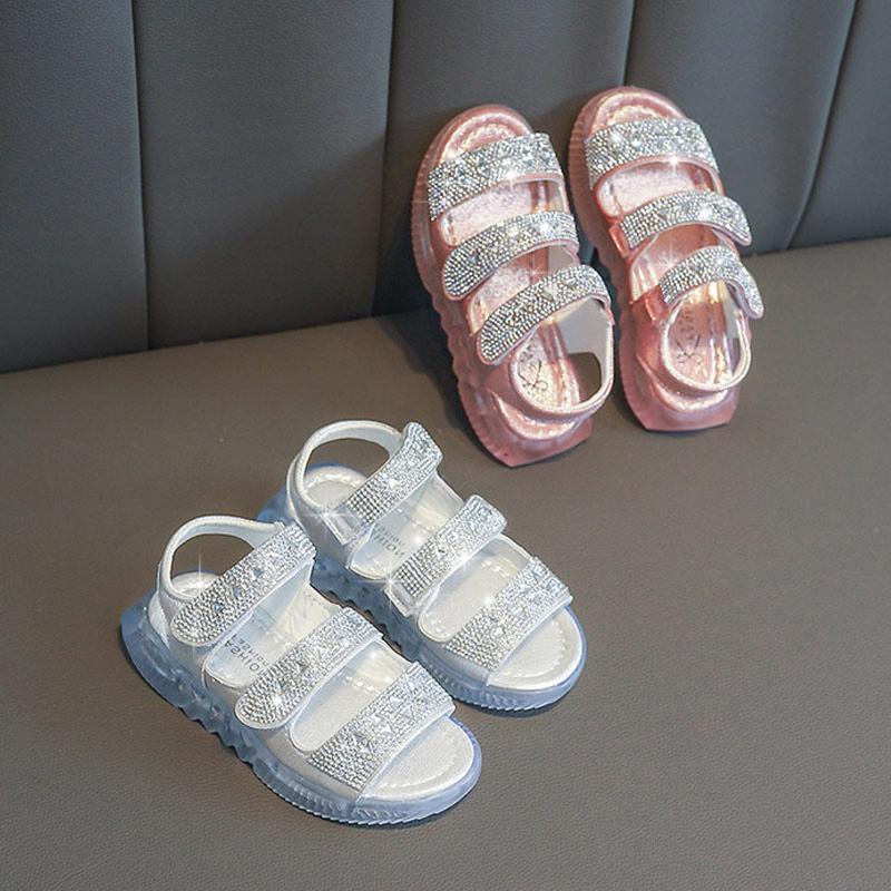 女童凉鞋2019新款宝宝时尚水钻公主水晶鞋防滑软底运动小童沙滩鞋