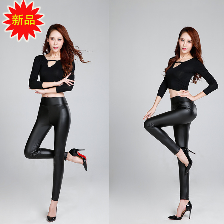 F17 leather pants womens spring and autumn Korean loose and tight solid color thin PU leather leggings with plush and thickening