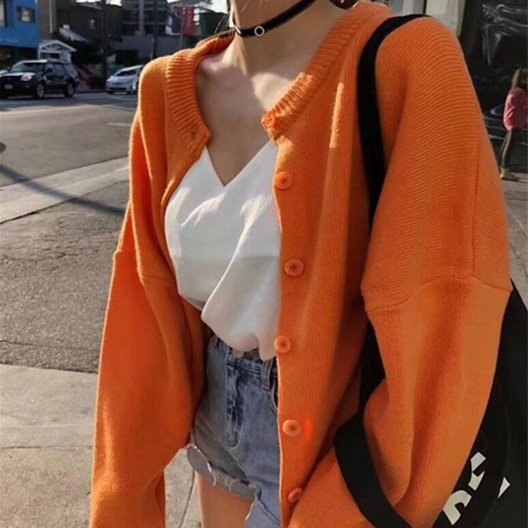 现货韩国新款网红同款温柔气质百搭彩色单排扣毛针织衫开衫短外套