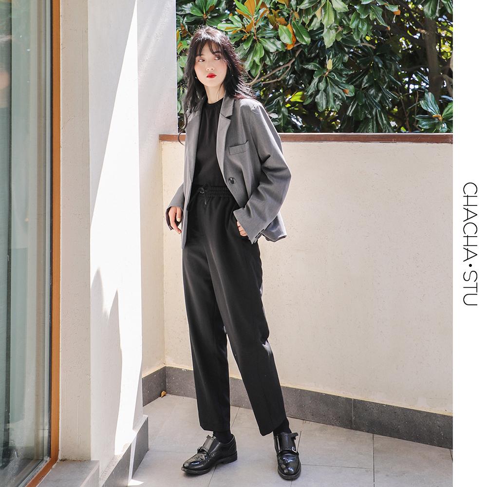 CHACHA 阔腿裤子女春秋工装裤高腰宽松直筒垂感黑色休闲西装裤限2000张券