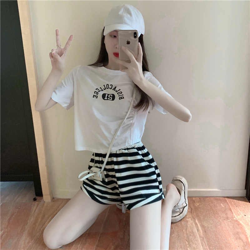 Summer print Twill Short Sleeve T-Shirt + striped crimped shorts two piece fashion suit womens dress
