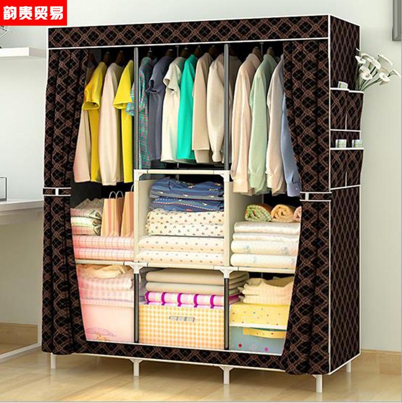 小孩布衣柜儿童简易经济型布衣柜担任小号宿舍组装现代风格加粗钢