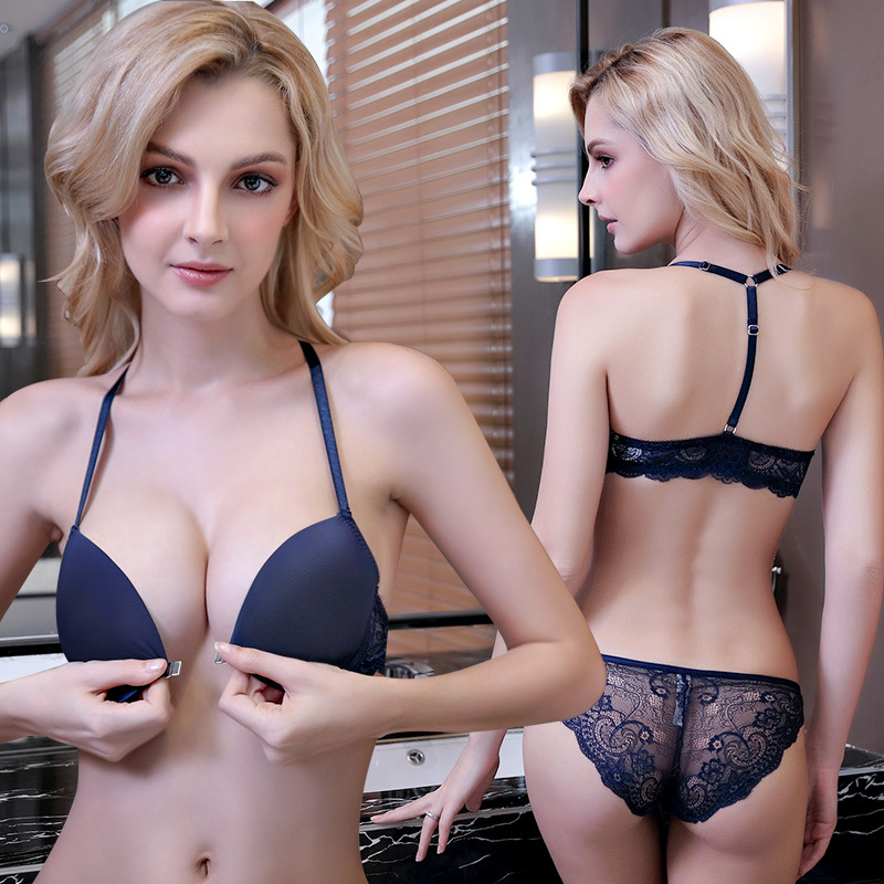 Front button back bra suit lace traceless sexy underwear underwear girl students show chest big show shoulder strap provocative