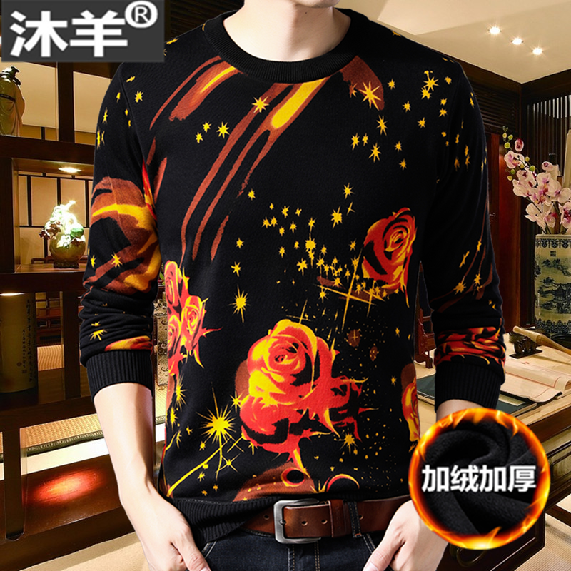 2021 winter new mens Plush warm sweater personalized rose print thickened crew neck sweater