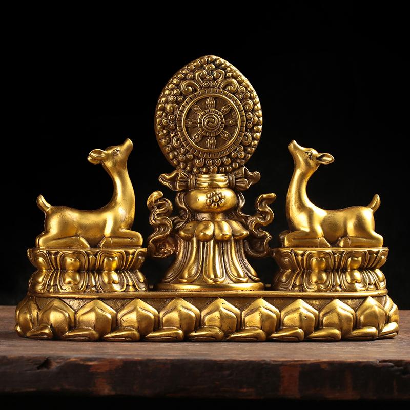 纯铜双鹿法轮 金轮吉祥八宝 藏传佛教用品密宗法器工艺品镇宅摆件