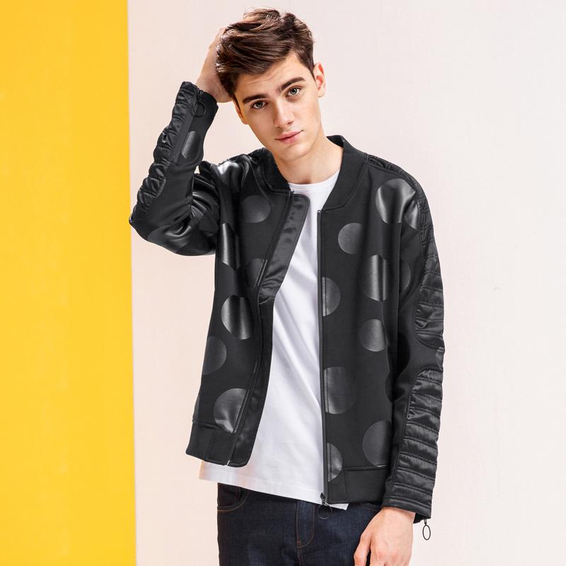 卡宾棒球领外套男薄2017新款潮流时尚韩版修身运动休闲青少年夹克