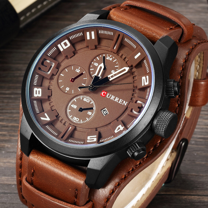 EN careen new fashion watch mens dual purpose leather punk watch locomotive watch student watch 8225 package