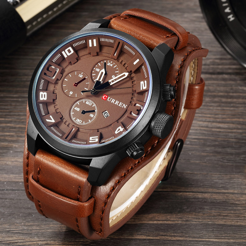 EN carrion new fashion watch man dual purpose leather punk watch locomotive watch student watch original package