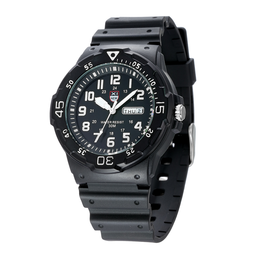 Popular waterproof mens watch quality Japanese imported movement calendar week quartz watch fashion rubber band Watch package