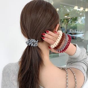 電話線髮圈女無痕韓國ins頭繩網紅簡約皮套扎頭髮橡皮筋毛絨發繩