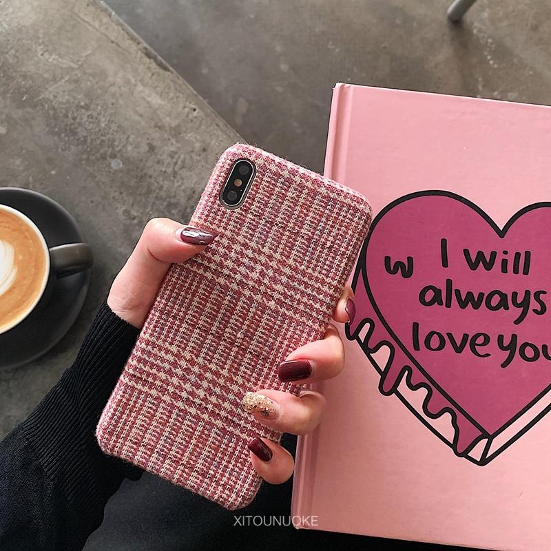 秋冬少女粉红色格子绒布oppo reno手机壳r17保护套r15梦境版半包硬壳r