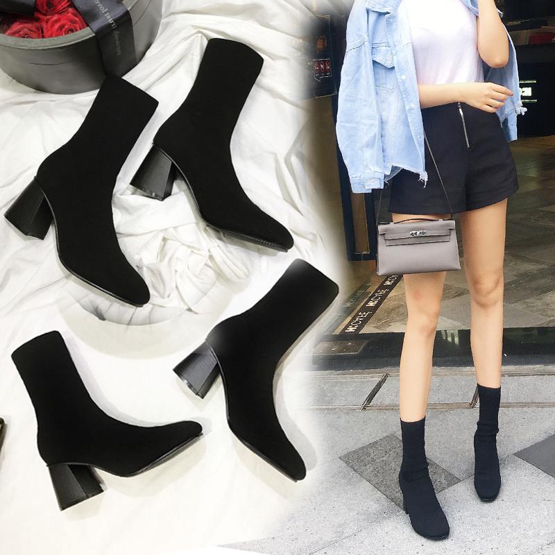 2017秋冬新款瘦腿弹力靴女中筒靴毛线针织袜子靴粗跟高跟短靴女