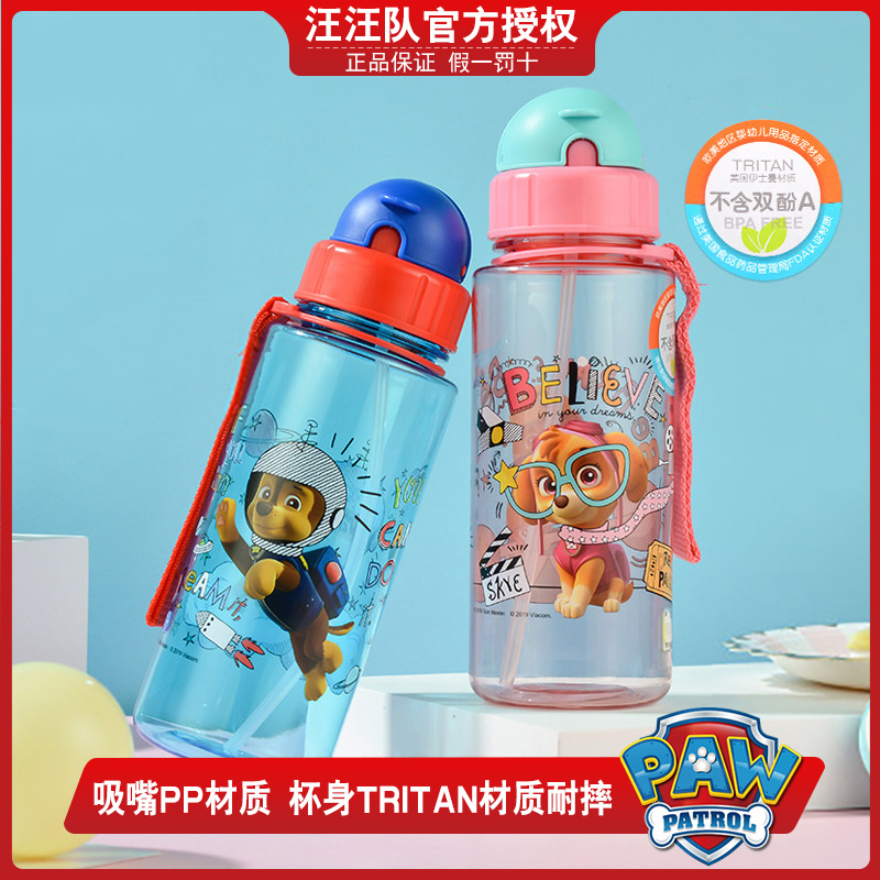Wangwang team children imported tritan material lechao kindergarten anti falling straight drinking cartoon straw water cup primary school students