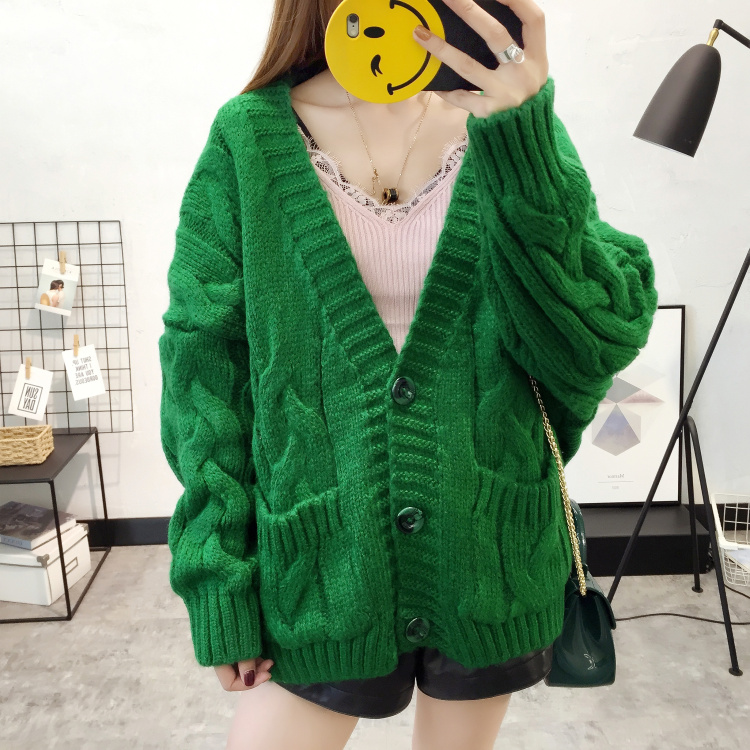 2017 autumn new Korean loose short thick line cardigan coat womens Linen Knitting thickened student sweater