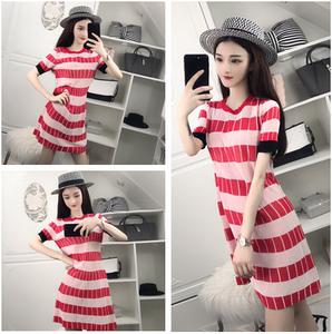 8059#实拍!新款 百搭 韩版拼色 针织连衣裙