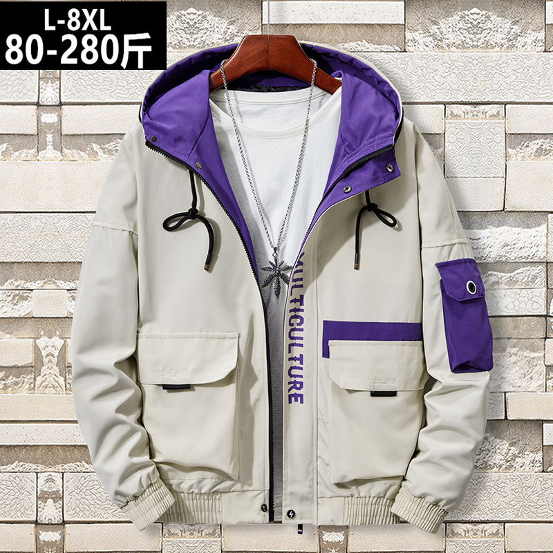Spring oversized oversized mens Hooded Jacket fattening and bulky