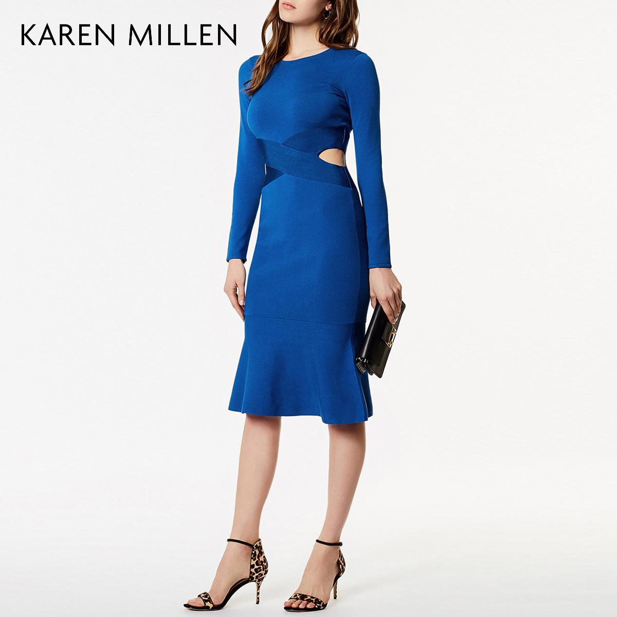 KAREN MILLEN凯伦米莲英伦女装2018春镂空针织连衣裙KM51823720