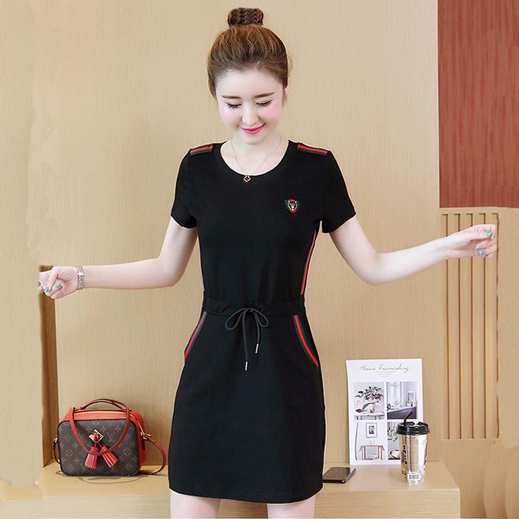夏新款修身显瘦休闲运动连衣裙短袖纯棉纯色系带收腰减龄中长款裙