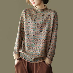 园园美衣新款复古碎花棉线针织衫女宽松长袖套头打底衫内搭上衣