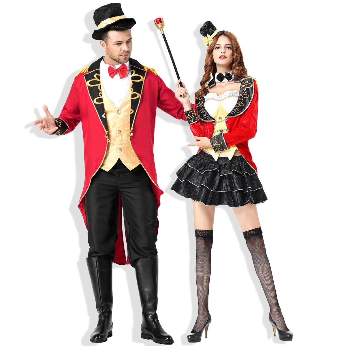 新しいハロウィンの女性マジシャンの衣装のサーカス伯爵の燕尾服のカップルのコスプレ衣装