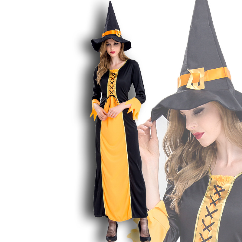 Halloween Witch Costume, European and American Queen Costume, role play stage costume, interest costume, Festival Dress