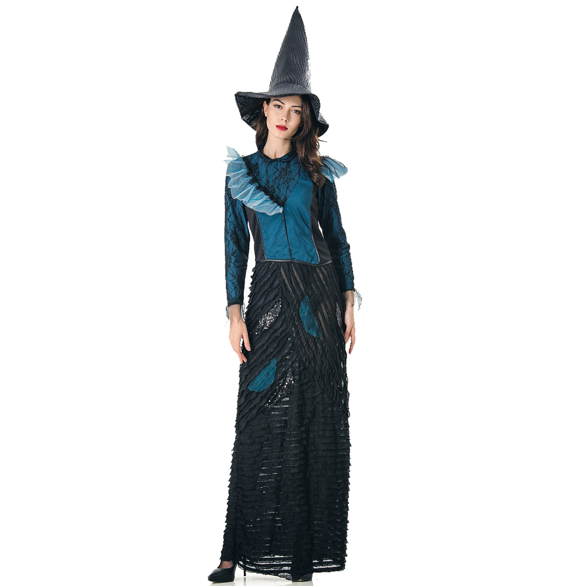 ハロウィンの服の長い経典の魔女の成人の役はwitch魔女を演じて身を修める長い項の巫女の服を修理します。
