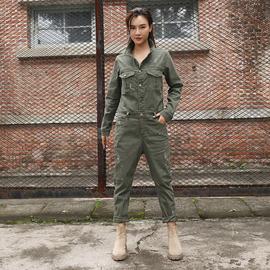 2020春秋新款复古牛仔工装连体裤女长袖个性潮流显瘦军绿色连衣裤