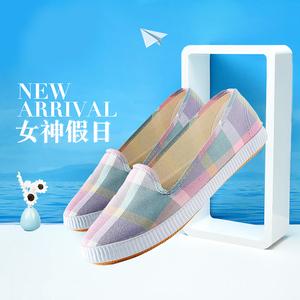 新款时尚女士帆布鞋老北京平底一脚蹬牛筋底运动休闲鞋工作妈妈鞋